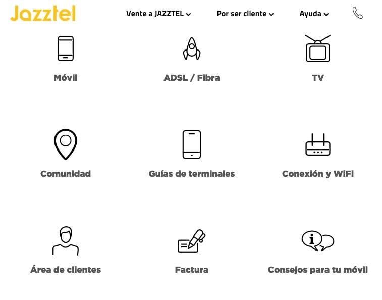 Página de ayuda de Jazztel