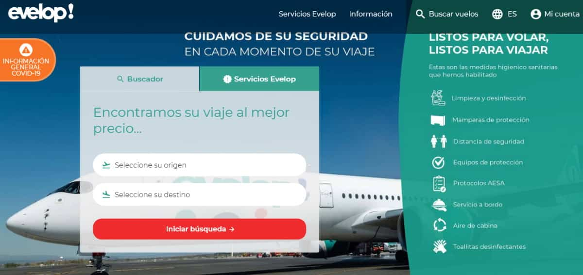 telefonos evelop airlines